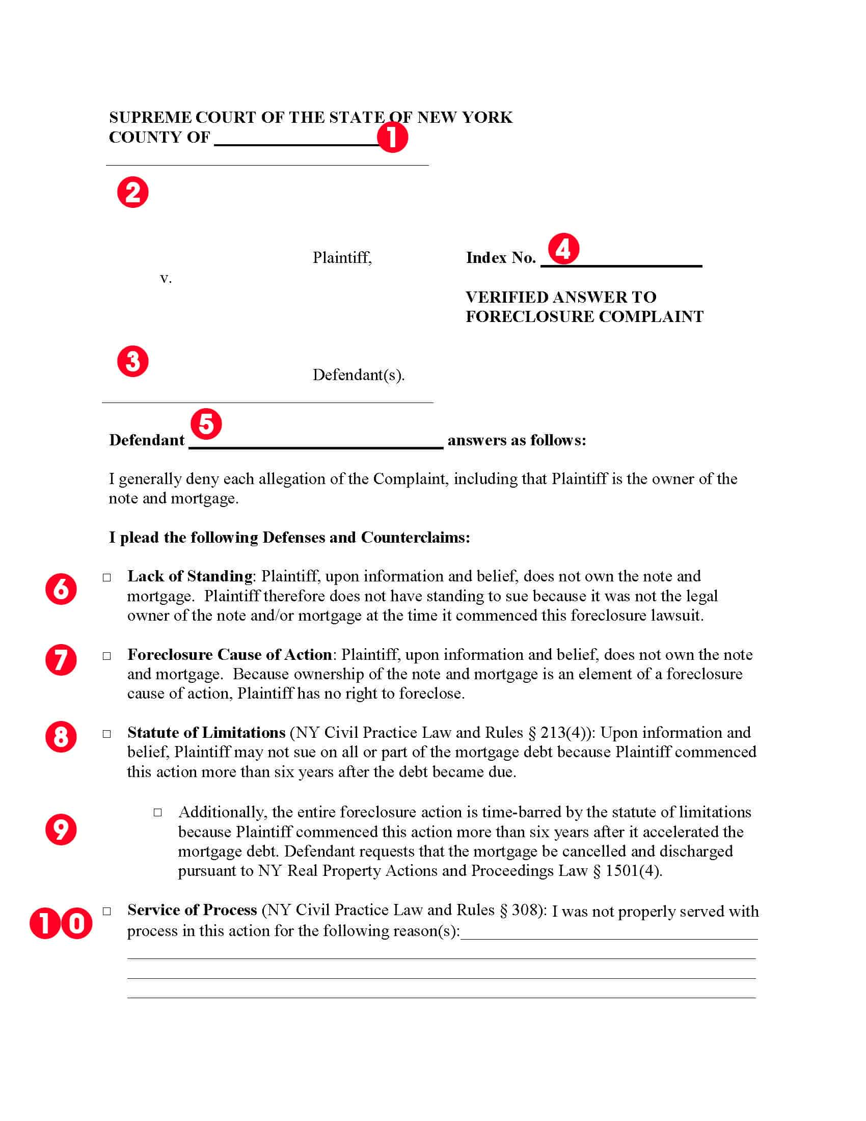 New York Sample Foreclosure Answer Page 1 10 items