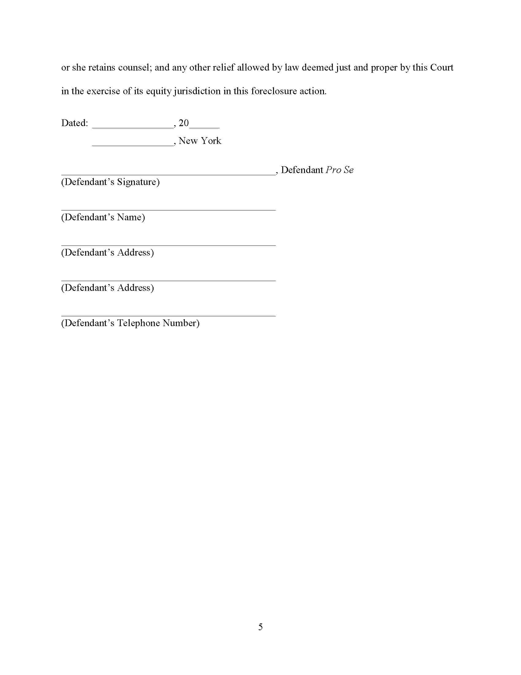 Affermative deffenses in NEW YORK foreclosure signature page for the pro se