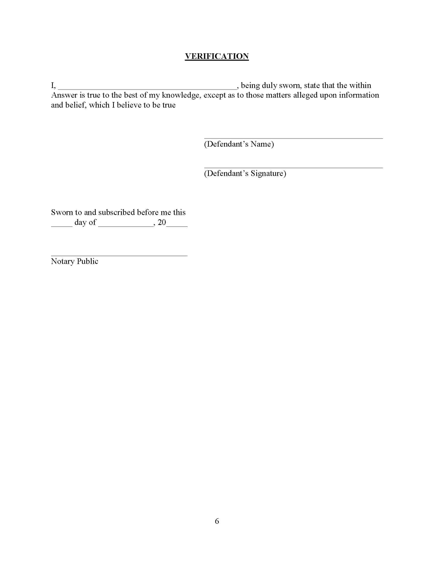 Verification in a NEW YORK foreclosure signature page for the pro se